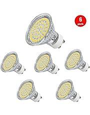 Bombilla led GU10,Tiancai foco LED 220V / 3W, bombillas halógenas de 35 vatios equivalente, sin parpadeo 52 unidades led, luz blanca cálida de 380 lúmenes (paquete de 6)