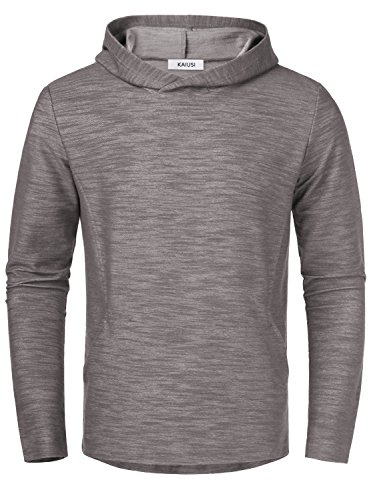 Nice KAIUSI Men's Casual Hooded Sweatshirt Top With Side Pockets for sale