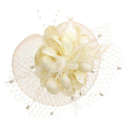 Auranso Netting Mesh Headband Big Flowers Fascinator Hat Beige4 One Size]()