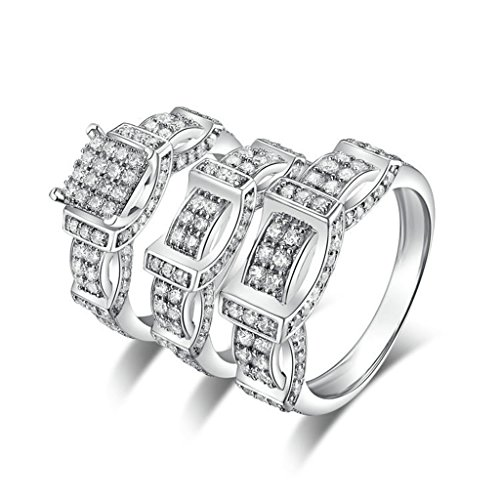 AmDxD Jewelry Silver Plated Men Promise Customizable Rings Belt CZ Ring Set Size 10.5 by AMDXD