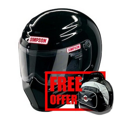 Simpson 28315M8 Matte Black Medium Outlaw Bandit - Free Deluxe Helmet Bag Included