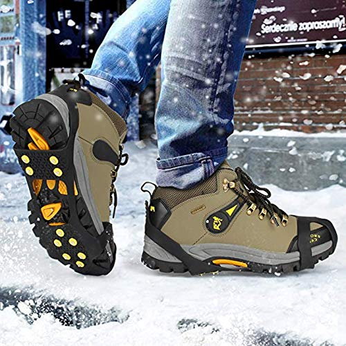 EONPOW Snow grips over Shoes//Boot 10 Studs Ice Traction Universal Slip on Stretch Fit Snow and Ice Snow Cleats Crampons Ice Spikes Snow Grips for Winter