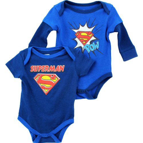 "DC Comics Superman ""Pow Logo"" Blue 2-Pack Infant Bodysuit Set"