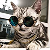 Cydnlive Cool Stylish And Funny Cute Pet Sunglasses Classic Retro Circular Metal Prince Sunglasses for Cat,Chihuahua or Small Dogs By (Color may vary)
