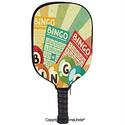 SCOXIXI 3D Pickleball Paddle Racket Cover Case,Bingo Game with Ball and Cards Pop Art Stylized Lottery Hobby Celebration ThemeCustomized Racket Cover with Multi-Colored,Sports Accessories
