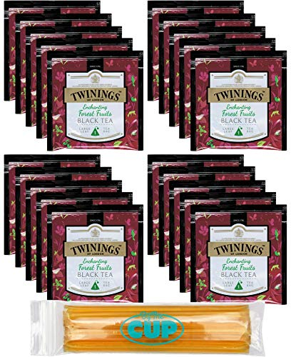 Twinings 20 Count Enchanting Forest Fruits Black Tea Large Leaf Pyramid Tea Bags with By The Cup Honey Sticks (Tea Black Tea Forest)