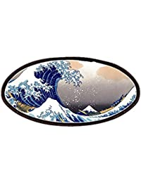 The Great Wave Off Kanagawa Patches - Patch, 4x2in Printed Novelty Applique Patch