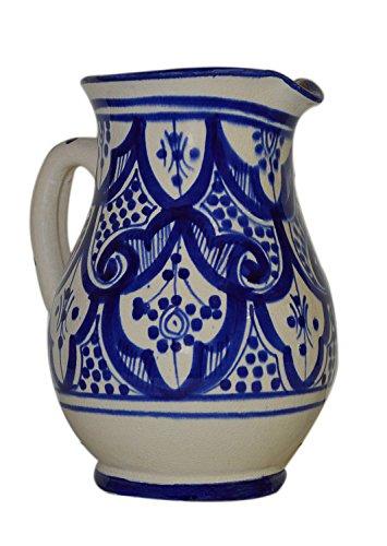 (Moroccan Pitchers Sangria Handmade Ceramic Carafe Beverage Dispenser Jar Cooler Easy Pour 58 Oz Large)