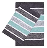 Quilted Stripe Luxury Bath Rug Set of 2, Mat Set, Soft Plush Anti-Skid Shower Rug +Toilet Mat.Quilted Rugs, Super Absorbent mats, Machine Washable Bath Mat,Size 21x32-17x24 Grey-Aqua