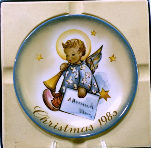 (F.X. Schmid Schmid Angelic Messenger 1983 Christmas Porcelain Limited Edition Collector Plate Inspired By Berta Hummel)