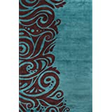 Momeni Rugs NEWWANW-88TQS2030 New Wave Collection, 100% Wool Hand Carved & Tufted Contemporary Area Rug, 2' x 3', Turquoise
