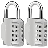 Combination Lock, [2 Pack] 4 Digit Combination Lock for Gym, Sports, School & Employee Locker, Outdoor, Fence, Hasp and Storage - Silver