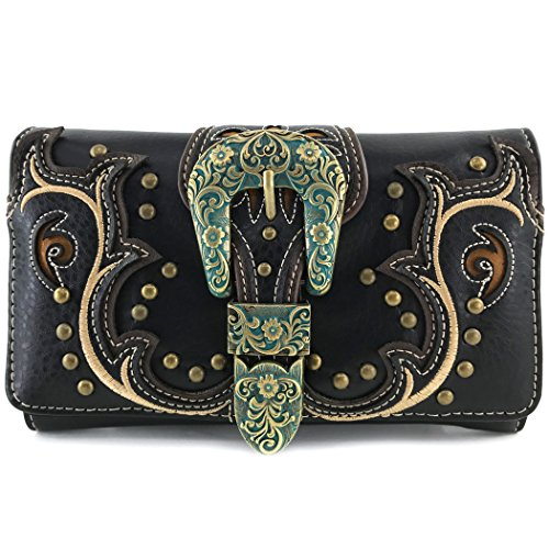 Justin West Patina Girl Western Bronze Floral Buckle Handbag Purse Tote and Strap Wallet (Black Wallet Only)