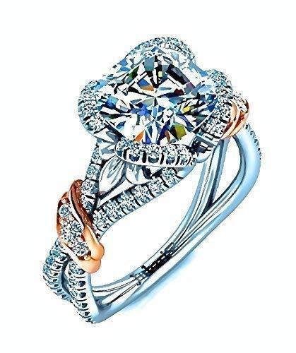 (Cushion Cut Diamond Engagement Ring 1.84 Ctw Unique Custom Foliage Designer Secret Heart Double Shank Two Tone Jubariss 14K Fine Jewelry)