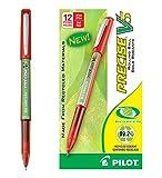 Pilot BeGreen Precise V5 Rolling Ball Pens, Extra Fine Point, Red Ink, Dozen Box (26302)