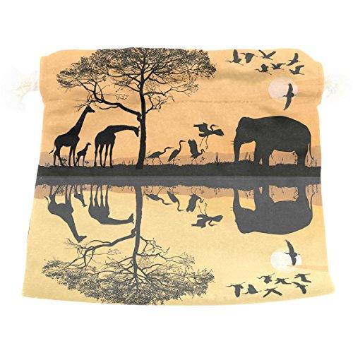 Savana Bag - Dragon Sword Savana Giraffes Herons And Elephant Gift Bags Jewelry Drawstring Pouches for Wedding Party, 6x8 Inch