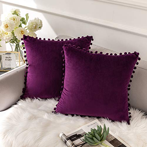 Ashler Decorative Velvet Throw Pillow Covers with Soft Particles Outdoor Pillowcases for Couch, Sofa and Bed 18 x 18 inches 45 x 45 cm, Pack of 2, Dark Purple