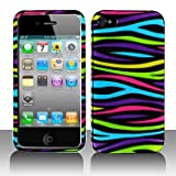Premium - Apple iPhone 4 Rainbow Zebra Cover - Faceplate - Case - Snap On - Perfect Fit Guaranteed