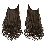 """SARLA Halo Hair Extension Secret Invisible Hidden Wire Crown Natural Curly Long Synthetic Hairpiece For Women Japan Heat Temperature Fiber 18"""" 4.2oz M01"""