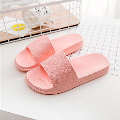 SUxian Creative Summer Couple Slippers Bathroom Non-slip Slippers Lattice Soft-soled Couple Slippers Sandals (Color : Grey, Size : 42-43) Pink