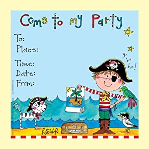 Rachel Ellen Set Of 8 Children S Party Invitations Blue Pirate