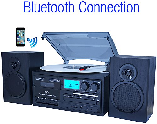 (Boytone BT-28SPB, Bluetooth Classic Style Record Player Turntable with AM/FM Radio, Cassette Player, CD Player, 2 Separate Stereo Speakers, Record Vinyl, Radio, Cassette to MP3, SD Slot, USB, AUX)