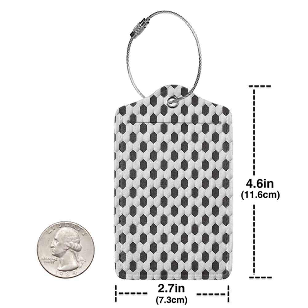Multi-patterned luggage tag Sports Decor Collection Soccer Ball Pattern Athletic Sport Themed Geometric Modern Artistic Design Double-sided printing Black and White W2.7 x L4.6