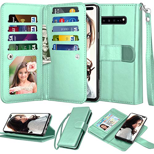 Njjex Wallet Case for Samsung Galaxy S10 5G, for S10 5G Case, [9 Card Slots] PU Leather ID Credit Holder Folio Flip [Detachable][Kickstand] Magnetic Phone Cover & Lanyard for Galaxy S10 5G [Mint] (Folio Samsung 5 Galaxy Case)