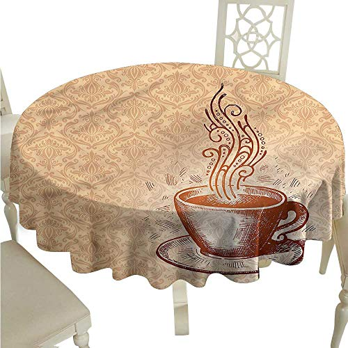 SKDSArts Outdoor Tablecloth Coffee,Cup with Saucer Pattern Art D65,Rectangle Tablecloth Dinner Picnic ()