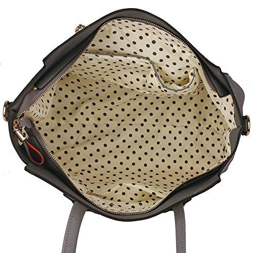 Funda de piel sintética nuevo bolso de mano para mujer moda bolso de hombro bolsas mujer grande, color morado, talla L Gris