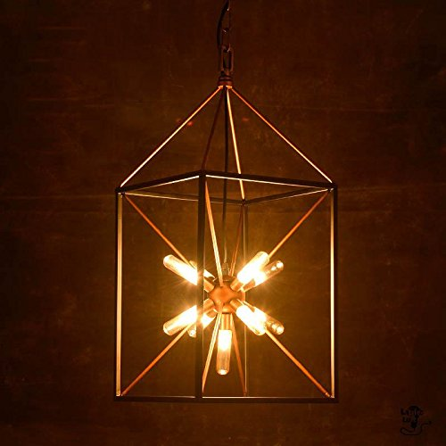 KHSKX Nordic creative personality light industrial iron chandelier chandeliers warehouse living room staircase lighting and Cafe 300670mm