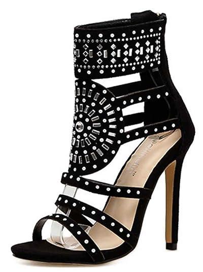 ab4dc51b40dd Aisun Women s Open Toe Gladiator Sandals Rhinestone - Sexy Stiletto High  Heels - Zipper Bead Ankle