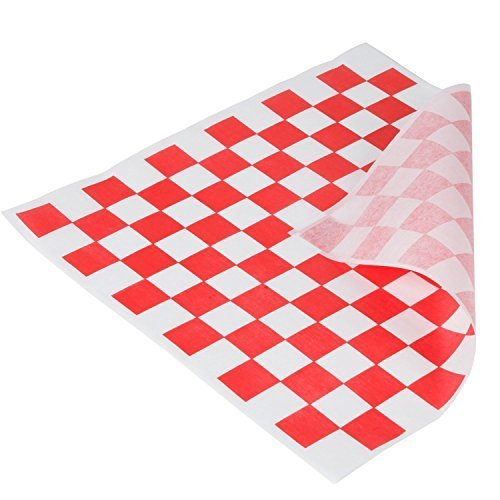 Red and White Checkered Food Grade Tissue Paper, Deli Basket Liner, 12 X 12 Inches, Dry Wax Deli Wrap Paper (Pack of 100)