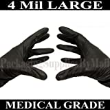 2000 ''PSBM'' Black Nitrile Medical Examination Gloves Powder Free (Latex-Free) 4 Mil Large