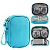 Honeystore Double Layer Gadget Organizer Universal Travel Gear Electronics Accessories Bag Electronics Carrying Case for USB Cable, Flash Drive, Hard Disk, Earphone, SD Card, Power Bank and More Blue