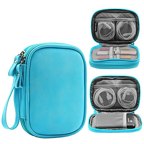 Honeystore Double Layer Gadget Organizer Universal Travel Gear Electronics Accessories Bag Electronics Carrying Case for USB Cable, Flash Drive, Hard Disk, Earphone, SD Card, Power Bank and More Blue by Honeystore (Image #7)'