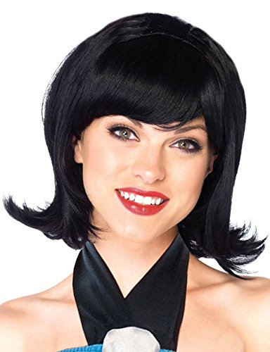 [Womens Stone Age Friend Black Flip Wig Betty Wig Betty Rubble Wig Costume] (Wilma Flintstone And Betty Rubble Costumes)