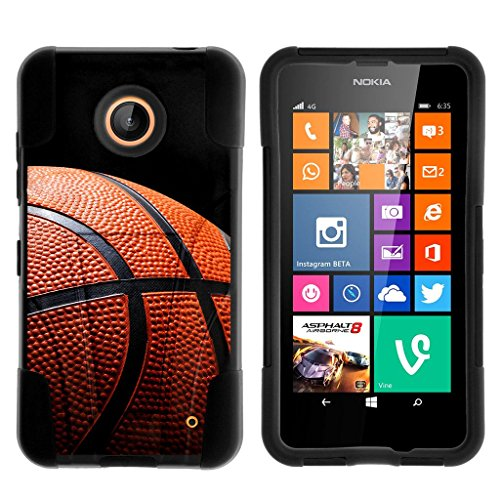 Compatible with Nokia Lumia 635 Case [Gel Max] Two Layer Soft Silicone Hard Shell Case Kickstand Sports and Games by TurtleArmor - Basketball Seams (Cute Cases For Nokia Lumia)