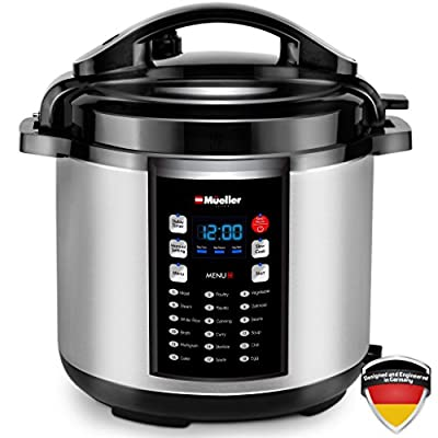 Mueller 10-in-1 Pro Series 18 Program 6Q Pressure Cooker with German ThermaV Tech, Cook 2 Dishes at Once, BONUS Tempered Glass Lid incl., Saute, Steamer, Slow, Rice, Yogurt, Cake, Maker, Sterilize