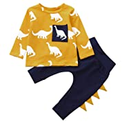 Hatoys Infant Baby Boys Girls Long Sleeve Dinosaur Print Tops T-Shirts Pants Outfits Clothes Sets (6M(Height:65-70CM), Yellow)