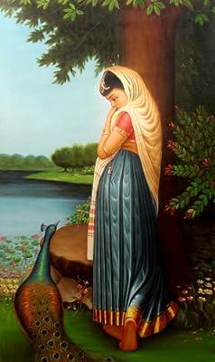 Virahini Radha Rani on the Banks of Yamuna with Peacock