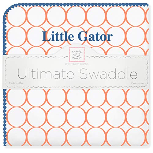 SwaddleDesigns Ultimate Swaddle, X-Large Receiving Blanket, Made in USA Premium Cotton Flannel, University of Florida, Little Gator (Mom's Choice Award Winner) (Florida Gators Square)