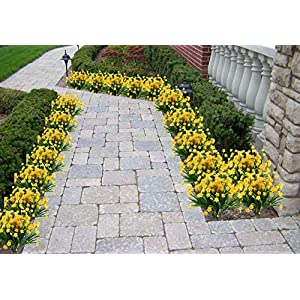 4pcs Artificial Yellow Daffodils Flowers Fake Shrubs UV Resistant Faux Plants Faux Plastic Bushes Indoor Outdoor Home Office Garden Patio Yard Table Wedding Farmhouse Centerpieces Pot Decor (Yellow) 5