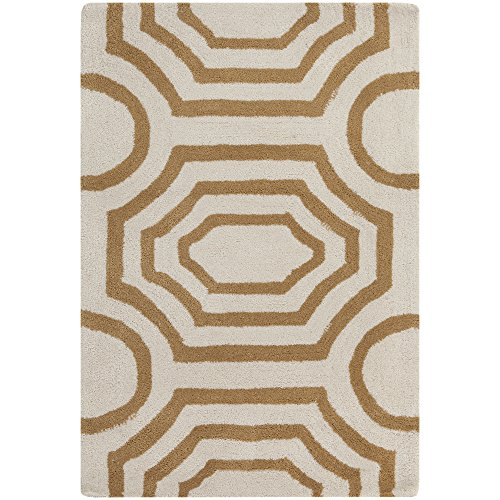 Gold Rug Rectangle Antique (Surya angelo:HOME by Hudson Park HDP-2015 Contemporary Hand Tufted 100% Polyester Antique White 2' x 3' Geometric Accent Rug)