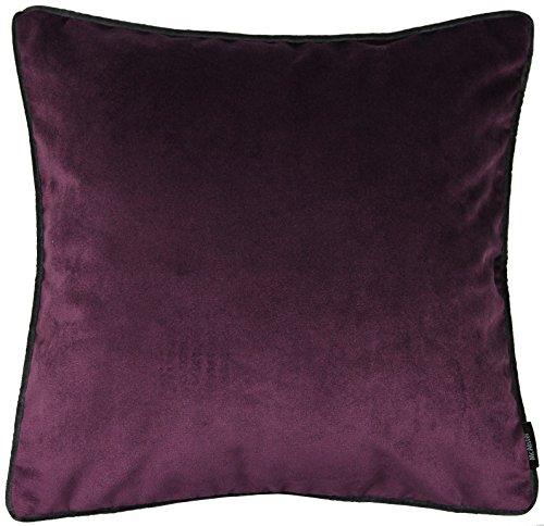 McAlister Matt Velvet | Filled Decorative Throw Pillow | 17x17 Aubergine Eggplant Plum Purple | Lush, Plush & Soft Classic Modern Accent Décor Plum Square Pillow
