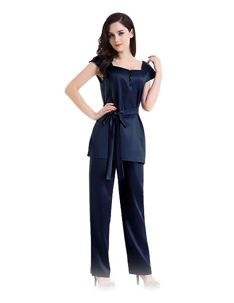 dff85fc122 Conjunto de Pijamas de Seda Medio Abotonado Frente con la Pretina   Amazon.es  Ropa y accesorios