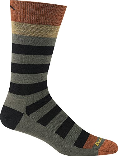 (Darn Tough Vermont Men's Warlock Crew Light Cushion Hiking Socks, Black/Fatigue, Small)