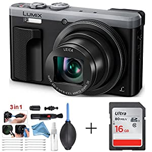 Panasonic LUMIX 4K Digital Camera ZS60 Silver (18MP, 24-720mm LEICA DC Lens Zoom) + 16GB SD Card + 3 in 1 Premium Cleaning Kit Pen Brush, Dust Blower, Exclusive DigitalAndMore Microfiber Cloth Bundle