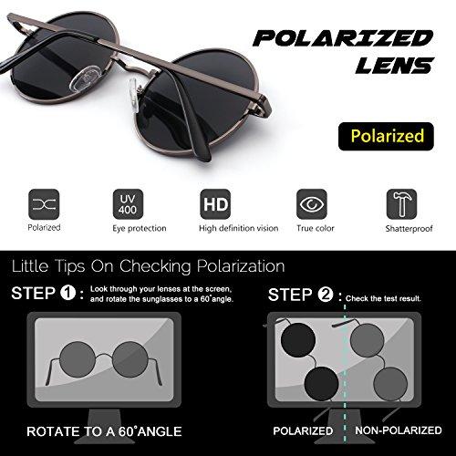 CGID E01 lunettes de soleil polarisées inspirées du style retro vintage Lennon en cercle métallique rond 51MM Marron Gris