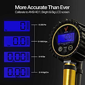 "Vondior Digital Tire Inflator/Pressure Gauge (200 PSI) - Car Tire Inflator & Deflator Gun, with 3 Different Air Chuck accessories + 1/4"" NPT for Truck, Automobile and Motorcycle by"